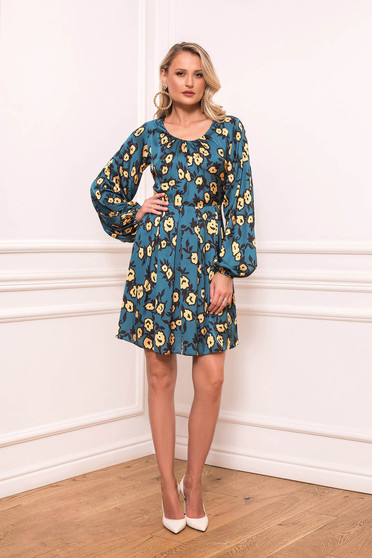Blue daily cloche dress with rounded cleavage from satin fabric texture with floral prints