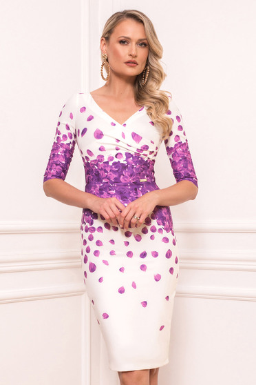 Purple elegant midi cloth dress slightly elastic fabric short sleeves with v-neckline