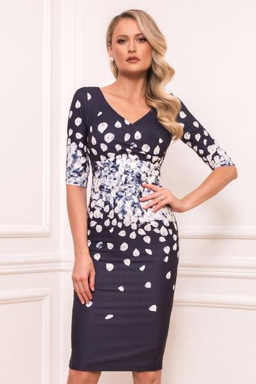 Darkblue elegant midi cloth dress slightly elastic fabric short sleeves with v-neckline