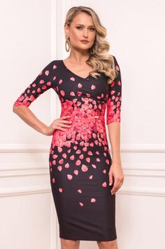 Red elegant midi cloth dress slightly elastic fabric short sleeves with v-neckline