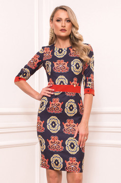 Darkblue daily pencil dress with 3/4 sleeves from elastic fabric