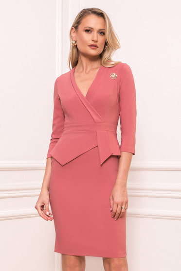 Lightpink dress elegant short cut pencil peplum accessorized with breastpin wrap over front