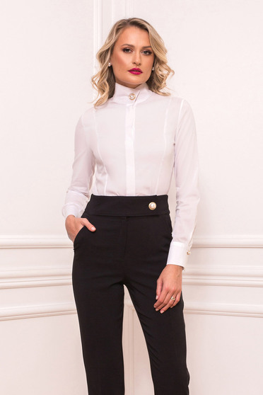 White office tented women`s shirt long sleeve slightly elastic cotton