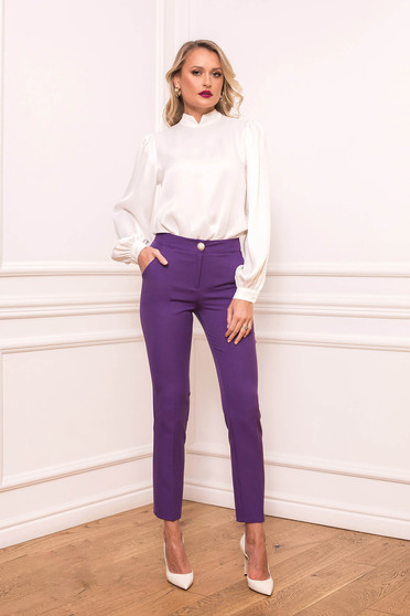 Purple high waisted office trousers slightly elastic fabric conical