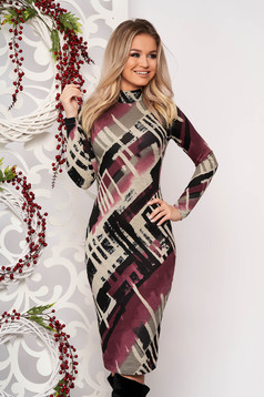 Dress StarShinerS lightpurple daily midi turtleneck knitted fabric long sleeved with tented cut