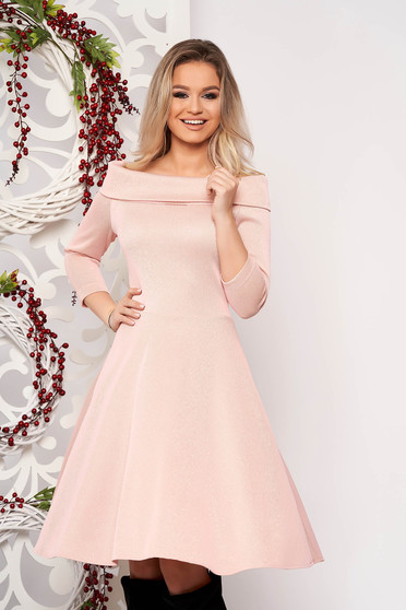 StarShinerS lightpink dress flaring cut with 3/4 sleeves midi 3/4 sleeve