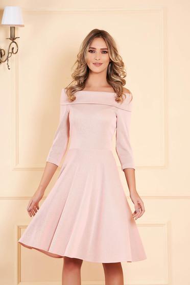 StarShinerS lightpink dress flaring cut with 3/4 sleeves midi 3/4 sleeve