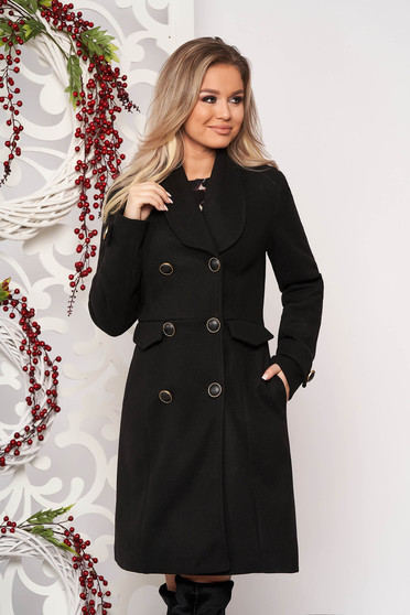 Black casual coat straight cut cloth fabric with easy inside lining