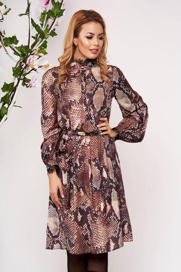 Brown dress elastic waist long sleeve midi cloche