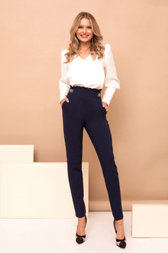 Darkblue trousers with pockets high waisted straight long