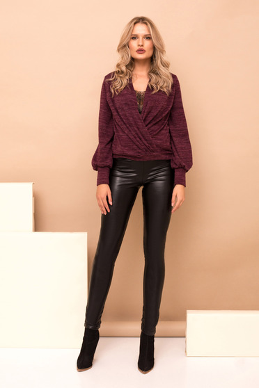 Black long elegant faux leather trousers