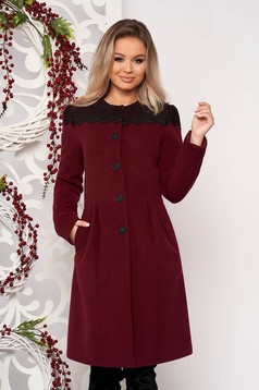 Burgundy elegant wool coat with embroidery details