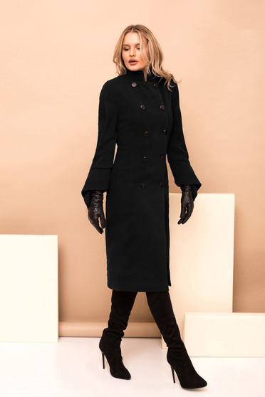 Black long straight occasional coat with turtle neck and button accessories