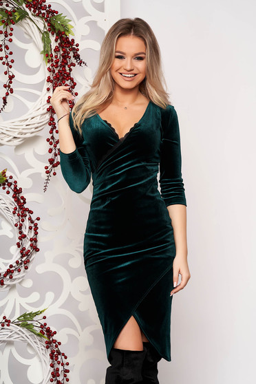StarShinerS green dress occasional elegant midi pencil velvet with lace details with 3/4 sleeves wrap over skirt without clothing