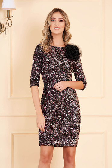 Dress StarShinerS pink occasional pencil short cut with sequins with net accessory zipper fastening