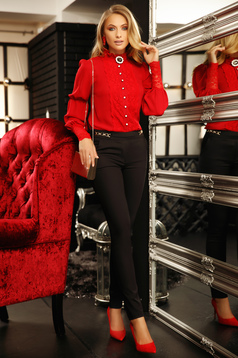 Elegant women`s shirt with easy cut from veil fabric with lace details accessorized with breastpin red