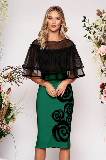 Green occasional pencil midi dress with ruffles on the chest with tented cut overlay material at bust