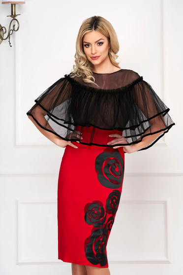 Red occasional pencil midi dress with ruffles on the chest with tented cut overlay material at bust