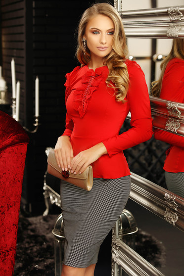 Red women`s shirt office with tented cut bow accessory with lace details with pearls