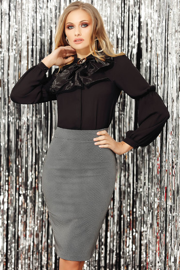 Black skirt flexible thin fabric/cloth high waisted office midi