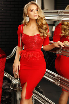 Red occasional dress with tented cut with deep cleavage with sequin embellished details