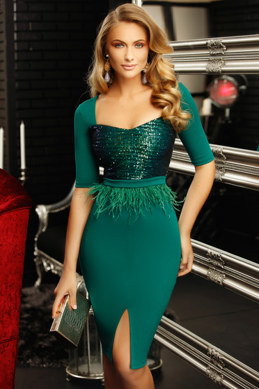 Green occasional dress with tented cut with deep cleavage with sequin embellished details