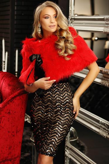 Red fur satin ribbon fastening from ecological fur