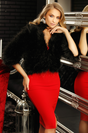 Black occasional fur with 3/4 sleeves