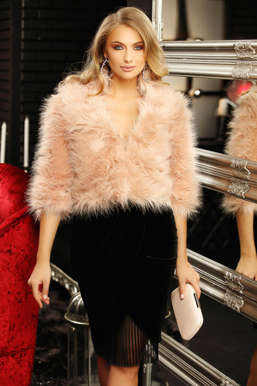 Lightpink occasional fur with 3/4 sleeves