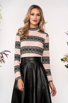 StarShinerS lightpink sweater elegant tented short cut knitted with turtle neck long sleeved