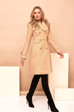 Cream casual coat straight cloth with inside lining