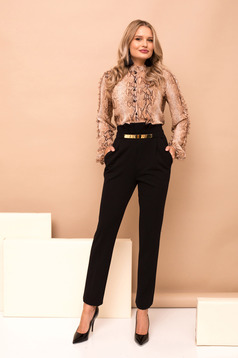 Black trousers with pockets high waisted straight long
