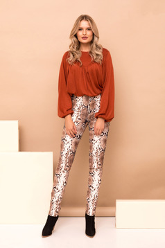 Brown trousers elastic waist high waisted straight long