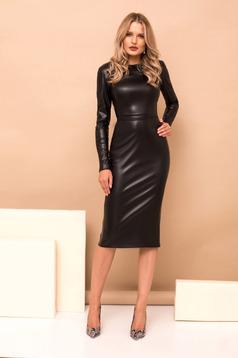 Black dress long sleeve straight midi