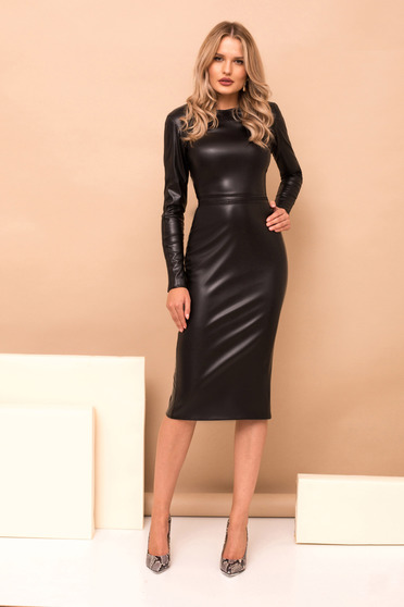Black dress long sleeve straight midi