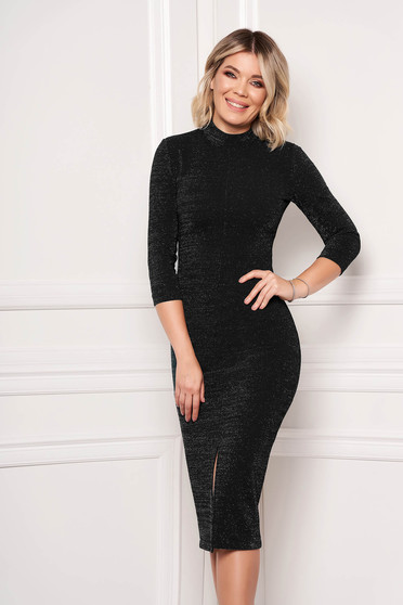 Dress StarShinerS black occasional pencil midi scuba 3/4 sleeve