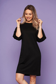 StarShinerS black dress neckline with puffed sleeves with 3/4 sleeves casual daily