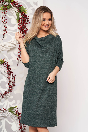Dress StarShinerS green knitted fabric with easy cut