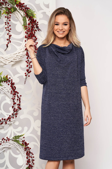 Dress StarShinerS darkblue knitted fabric with easy cut