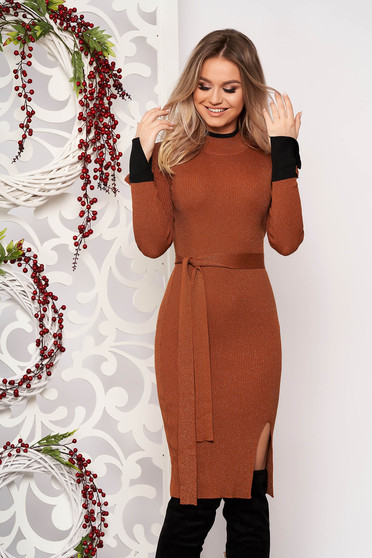 Bricky dress elegant midi pencil knitted from striped fabric with turtle neck frontal slit
