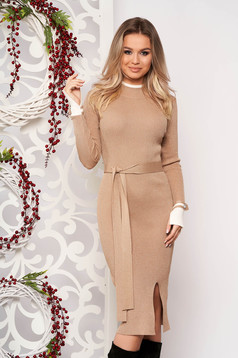Cream dress elegant midi pencil knitted from striped fabric with turtle neck frontal slit