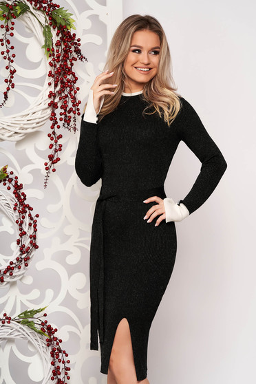 Black dress elegant midi pencil knitted from striped fabric with turtle neck frontal slit