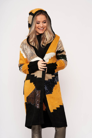 Mustard cardigan elegant with sequin embellished details with undetachable hood knitted fabric with no closure