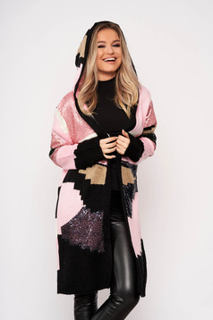 Lightpink cardigan elegant with sequin embellished details with undetachable hood knitted fabric with no closure