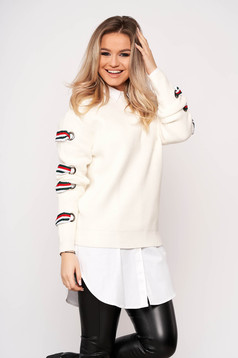 White sweater casual short cut flared knitted fabric long sleeved neckline