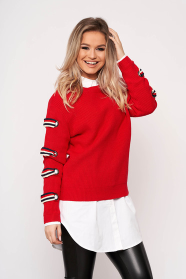 Red sweater casual short cut flared knitted fabric long sleeved neckline