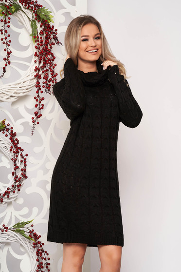 Black dress daily midi knitted fabric long sleeved with turtle neck without clothing