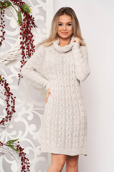 Cream dress daily midi knitted fabric long sleeved with turtle neck without clothing