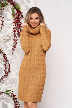 Brown dress daily midi knitted fabric long sleeved with turtle neck without clothing