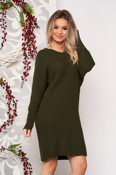 Khaki dress casual midi straight knitted fabric with v-neckline long sleeved